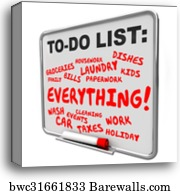 canvas print of too many priorities overwhelming to do list tasks