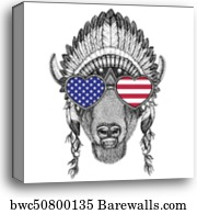 Buffalo, bison, ox, bull wearing cylinder top hat USA flag glasses