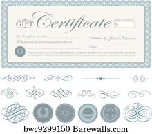 canvas print of vector blue certificate border and ornaments