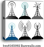 Vector radio tower broadcast, Canvas Print | Barewalls