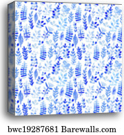 Seamless blue square cubism abstract watercolor handmade wallpaper