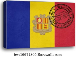 Welcome To Andorra Flag With Passport Stamp