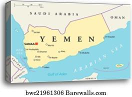 Political Map Of Yemen.Canvas Print Of Yemen Political Map Barewalls Posters Prints