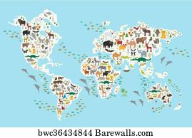 52 globes showing earth with all continents posters and art prints globes showing earth with all continents art print poster cartoon animal world map for children gumiabroncs Choice Image