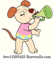 cartoon dog playing a trumpet