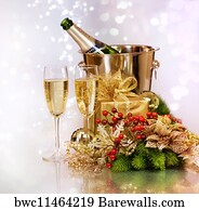 bubble border art print poster champagne new year celebration