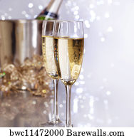 wine bottles with border white art print poster champagne new year celebration