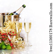 wine bottles with border white art print poster champagne new years eve celebration