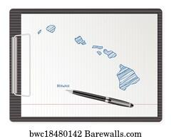 1 133 Hawaii Map Vector Posters And Art Prints Barewalls