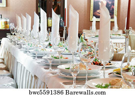 Wedding Catering Art Print Poster - Close-Up Catering Table Set & 15078 Wedding catering Posters and Art Prints | Barewalls