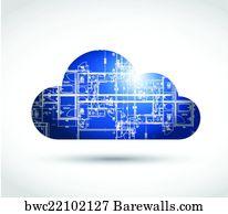 Art print of blueprint dna chains barewalls posters prints art print poster cloud computing and blueprint illustration design malvernweather Image collections