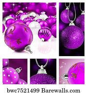 christmas decorations art print poster collage of purple christmas decor