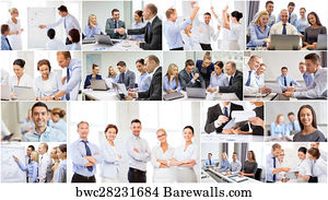 collage with many business people in office art print poster collage with many business people