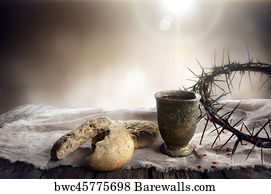 art print of communion and passion unleavened bread chalice of