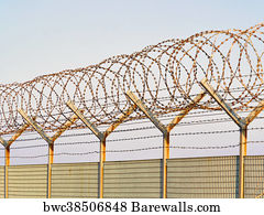 Art Print of Concertina razor wire and barbed wire on a metal fence ...