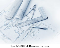 Blueprint Background Art Print Poster   Construction Plan Tools