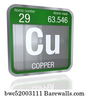 3d copper element art print poster copper symbol in square shape with metallic border and - Periodic Table Copper Symbol