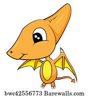 Image of: Rex Cute Cartoon Of Brown Baby Pterodactyl Dinosaur Barewalls Art Print Of Cute Cartoon Of Brown Baby Pterodactyl Dinosaur