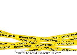 art print of do not cross tape barewalls posters prints