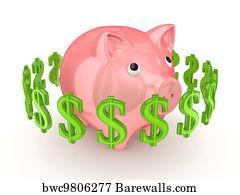 Dollar Signs Around Pink Piggy Bank