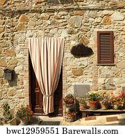Art Print Poster - Doorway To The Tuscan House & Art Print of Picturesque italian doorway in tuscan borgo Certaldo ...