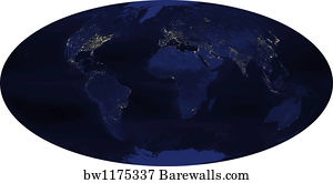 Art print of world satellite map barewalls posters prints art print poster earths human generated nighttime lights for the calendar gumiabroncs Choice Image