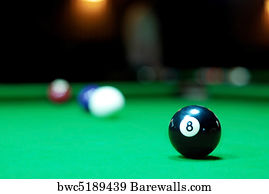 Pool Table Art Print Poster   Eight Ball On Pool Table