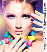 Beauty Salon Art Print Poster Fashion Model With Colorful Nails