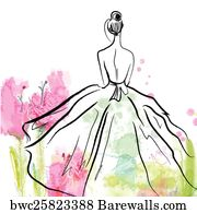 bridal shower art print poster fashion girl in beautiful dress sketch on the floral
