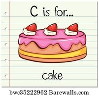 birthday cakes art print poster flashcard letter c is for cake