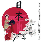 art writing Geisha