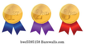 art print of gold award ribbons barewalls posters prints