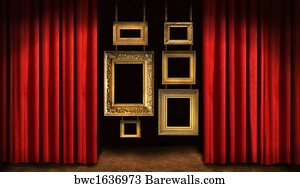 Art Print Of Gold Frames With Red Drapes Barewalls Posters