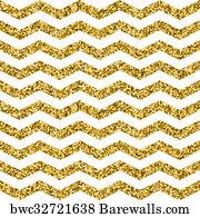 Zigzag Wallpapers Art Print Poster Gold Glittering Seamless Pattern