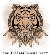 5 Gold Lion Head Door Knocker Hand Drawn Vector Illustration