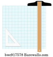 art print of graph paper drafting tools draw barewalls posters
