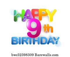 art print of happy 9th birthday title light barewalls posters
