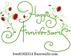 art print of happy anniversary text barewalls posters prints