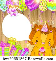 Art Print Of Happy Birthday Card Background With A Cat Barewalls