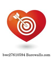 Art print of bullseye heart barewalls posters prints bwc20724032 art print poster heart icon with a dart board altavistaventures Images