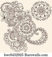 Art Print Of Henna Mehndi Tattoo Design Elements Barewalls Posters