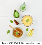 Essential Nutrients Art Print Poster Homemade Lemon Essential Oil Salt Bath And Fresh Honey
