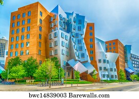 postmodern architecture gehry. Frank O Gehry Art Print Poster - Iconic Postmodern Architecture Of Mit Strata Center, Cambridge