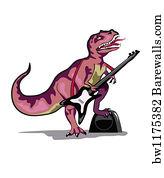Dinosaur Playing Guitar Art Print Poster