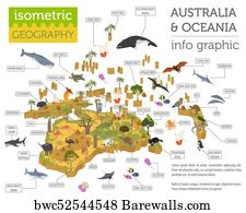 art print poster isometric 3d australia and oceania flora and fauna map elements animals