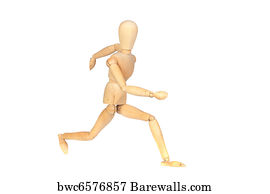 art print of jointed wooden mannequin running barewalls posters