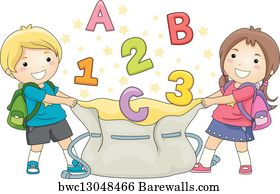 Art print of kids holding greeting signs in different languages art print poster kids catching abcs and 123s m4hsunfo