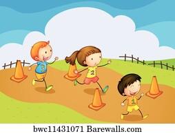 Kids Running Race Art Print Poster