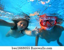 kids swimming underwater art print poster kids swimming underwater - Kids Swimming Underwater