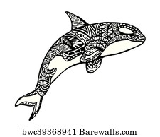 e885c181a Tattoo Killer Whale Art Print Poster - Killer Whale Zentangle Illustration